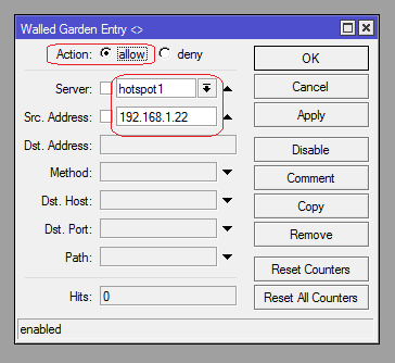 Use Mikrotik walled garden to bypass printers and servers in