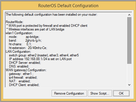 RouterOS default configuration